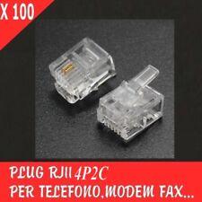 100X PLUG RJ11 4P2C PER TELEFONO MODEM FAX SPINA MODULARE CONNETTORE SPINOTTO X