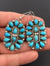 Massive Vtg Navajo Sterling Silver Turquoise Petit Point Cluster Dangle Earrings