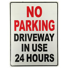 3x WARNING NOTICE SIGN NO PARKING DRIVEWAY IN USE 24Hr 225x300mm Metal 16003022
