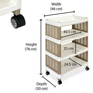 4 Tier Plastic Strong Fruit Vegetable Shelves, Kitchen Storage Rack Stand