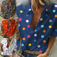 Women Fashion Turn-down Collar Blouse Long Sleeve Casual Dots Tops T-shirts