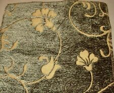 Vtg. Ast Sommers- Sculpted Embossed Chenille Floral 14� Square Sample Green Gold
