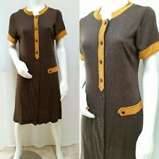 Vintage MIMI FASHIONS Button Front Brown Knit DRESS - Size M