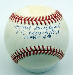 Mickey Stubblefield - Autographed Ball - KC Monarchs - Negro Leagues - 1949-54