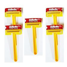 Gillette Blades Super Thin Razor Double Safety Speed Shaving Yellow Long Handle