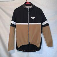 De Marchi Italian Long Sleeve Cycling Jacket Black & Tan With Pockets Men's M