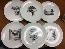 The Monkey And The Peddler Liz Ross, 6 appetizer Plates, Fruits& Flowers