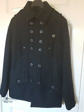 MENS WINTER FLY53 MILITARY STYLE WOOL BLEND JACKET COAT BLACK SIZE S