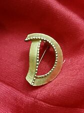 "Brooch Vintage Gold Plated Letter ""D"" Pin 1975"