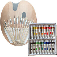 Artist 18 ACRYLIC COLOR Painting Paint Set + 12 Brush Set with Wood Palette SET