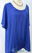 Simply Irresistible Lace Gypsy Peasant Tunic Top Shirt light blouse blue 3X NEW