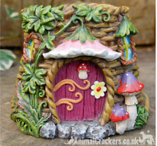 Fairy House Pink door Planter Pot garden ornament decoration Pixie lover gift