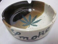 Vtg NOS Ceramic Ashtray Made in Japan Marijuana Leaf Cannabis SMOKE Cigarette