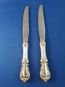 "Reed & Barton 2 Burgundy 9"" Knives Sterling Handles NM Modern Blades"