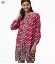 LOFT Diamond Mosaic Shift Dress. Size Large Tall  $89.50 Pink Turquoise NWT