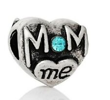 SILVER TONE MOM AND ME CRYSTAL LOVE HEART CHARM BEAD FOR BRACELET OR NECKLACE
