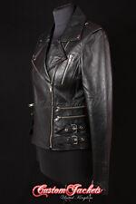 CATWALK LADIES LEATHER JACKET Black Rock Star Biker Chic Leather Jacket 7113