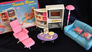 GLORIA DOLLHOUSE FURNITURE SIZE FAMILY ROOM  W/ SOFA TV LAMP PLAYSET For Dolls
