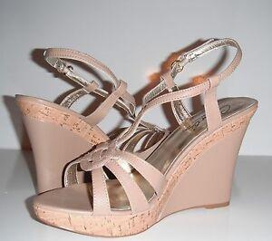 New Charles by Charles David Luck 2 Tan Leather Cork Wedge Platform Shoe sz 11