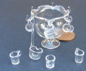 1:12 Scale Large Empty Real Glass Punch Bowl Tumdee Dolls House Drink G9LD