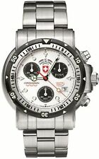 NEW CX Swiss Military 1725 Mens Seewolf 1 Chronograph White Dial SS Diving Watch