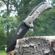 US Army EDC Digital Camo Spring Assisted Folding Pocket Knife Serrated Blade NEW
