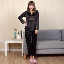 NEW Womens Silk Satin Pajamas Set Sleepwear&Robes Nightdress Nightgown P002 L,XL