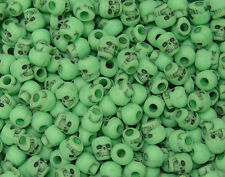 100 Lime Skull Pony Beads for halloween crafts paracord survival jewelry making