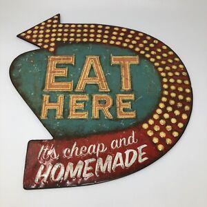Eat Here Retro Wall Decor Creative Tin 755702512640 16x15 Sign Decoration