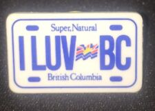 I LUV BC ~ British Columbia License Plate Lapel Hat Pin
