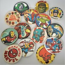 """MARVEL COMIX Silver Age,Spider Man,Thor,Ex"""" Lot of (14) Big1.75"""" Button Pins,P-4"""