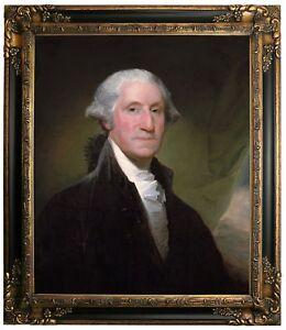 Stuart Portrait of George Washington Framed Canvas Print Repro 20x24