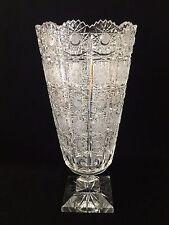 """Vintage Queen Lace Bohemian Czech Hand Cut Glass Crystal Vase, 13"""" T X 6 1/2"""" D"""
