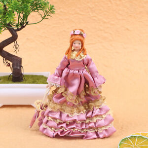1:12 Miniature Mini Victorian Doll Model Fuchsia Pleated Skirt Lady DollhousBDNI
