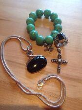 "Lot Silpada Jewlery Sterling Onyx Pearl Ring Pendent Cross 22"" Chain Bracelet"