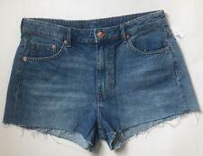 NEW H&M HM Divided Cut Off High Rise Denim Jean Short Shorts Blue sz 12