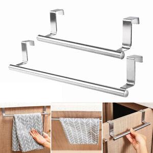 Over Door Towel Bar Rack Hanging Holder Kitchen Bathroom Cabinet Shelf Rail Rack
