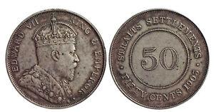 Malaysia Straits Settlements Edward VII Silver (.800) 50 Cents 1905 AD