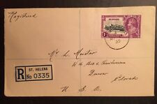 1935 Silver Jubilee St Helena-Denver registered First Day cover, Scott 114