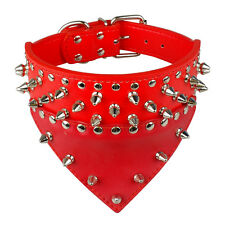 Cool Spiked Studded Bandana Scarf PU Leather Dog Collars for Pets M L XL