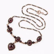 Antique Vintage Nouveau Gold Filled Bohemian Garnet Glass Lavaliere Necklace!