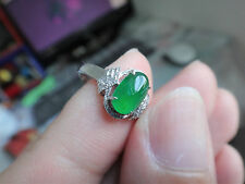 18k Solid White Gold Diamond Natural Genuine A Jadeite Jade Imperial Green Ring