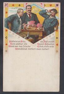 842 /AK Skat-Karten-Spiel 3 Spieler a. Tisch ca. 1900