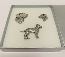 More details for labrador 3 pewter pin badge gift set in grey box birthday christmas dog lovers
