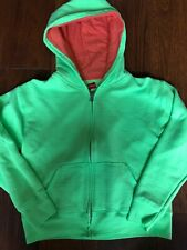 girls HANES SWEATSHIRT JACKET zipper hoodie LIME GREEN ORANGE fall large 10 12