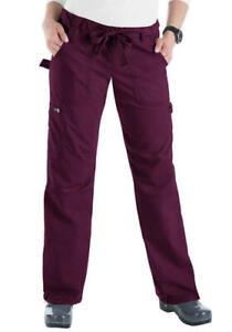 KOI Classics Women's Lindsey Drawstring TALL Cargo Scrub Pants - 701T MERLOT