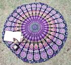 """Indian 48"""" Mandala Beach Rug Throw Peacock Bohemian Tapestry Roundie Yoga Mat"""