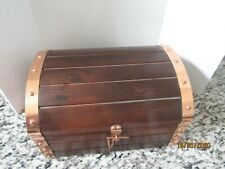 Vintage Wooden Treasure Chest Bar Set With ` Bottle And 4 Glasses Musical
