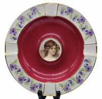"Vtg Cico Bavarian Porcelain Floral Border Portrait Pipe Ashtray Germany 7 1/2""W"