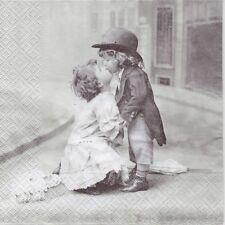 4 Single paper decoupage napkins. Vintage design. Kissing couple -191